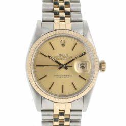 montre bracelet Rolex oyster perpetual date or acier cadran 2
