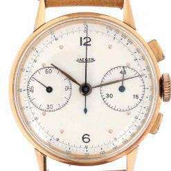 montre bracelet Jaeger chronographe 2 compteurs cadran 3