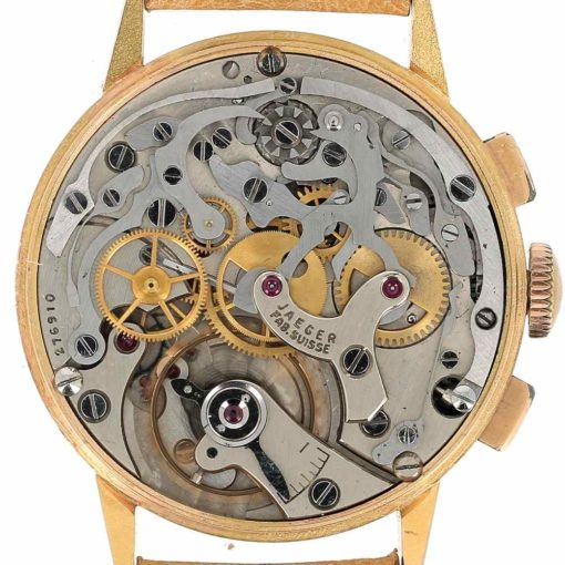 montre bracelet Jaeger chronographe 2 compteurs mouvement