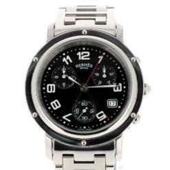 montre bracelet Hermes clipper chronographe quartz cadran 2