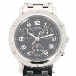 montre bracelet Hermes clipper chronographe quartz cadran 3